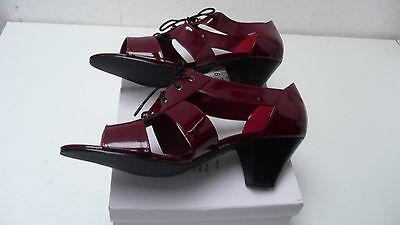 Reducción señoras Rojo Patente Con Cordones Inteligente Zapatos Peep Toe Bloque Talón 2.5 UK 5