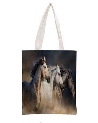 HORSE /& WESTERN GIFTS ACCESSORIES BAROQUE HORSE PRINT SHOULDER SHOPPER TOTE BAG
