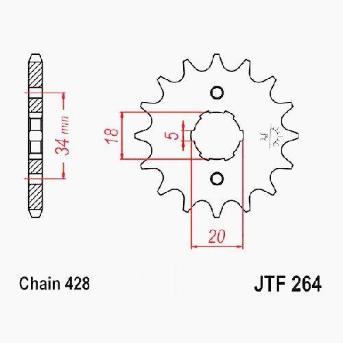 2007-2013 428 JTF264.17 Kymco Quannon 125 R30000 Bj RITZEL 17Z T