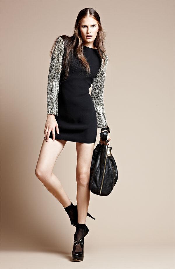Parker Sequin Sleeve Combo Dress  ( Size M)