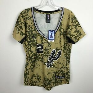 Tan 2 Leonard Antonio Adidas Nba in Camicia San Camo Jersey L Womens Verde New Spurs RpwqxZS6x
