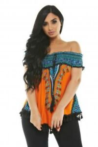 010d74d965e Image is loading Off-The-Shoulder-African-Dashiki-Print-Top-with-