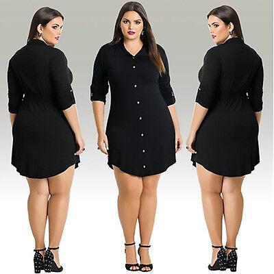 2018 Fashion Women Casual Long Sleeve Shirt Dress Plus Size Mini Dress Black Top