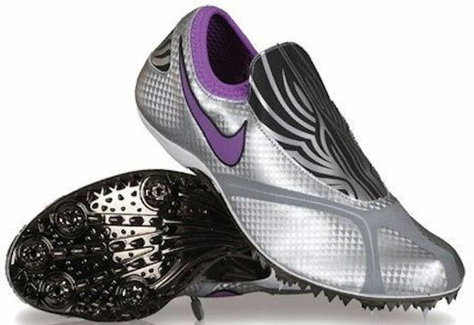 NIKE ZOOM CELAR Silver Black Zebra Purple Sprinter Track Spikes Womens 5.5 12.5