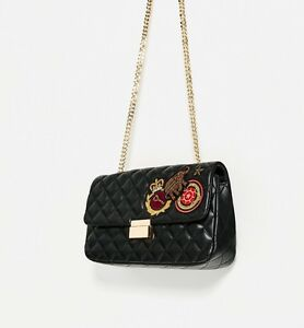 fee7f164 Image is loading NWT-ZARA-QUILTED-PATCHES-CROSSBODY-BAG-BLACK-Ref8553-