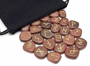 Red Goldstone Elder Futhark Rune Set Hand Carved Gemstone Runic