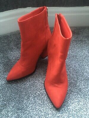 River Island Ladies Red Suede Ankle