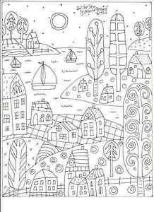 Rug-Hooking-Craft-Paper-Pattern-BY-THE-SEA-2-Folk-Art-PRIMITIVE-Karla-Gerard