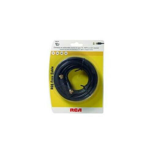RCA 3.7m RG-6 Digital Coaxial Cable With Gold Plated F Connectors (Black)