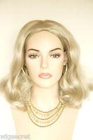 Platinum Blonde Medium Straight Wavy Skin Top Wigs