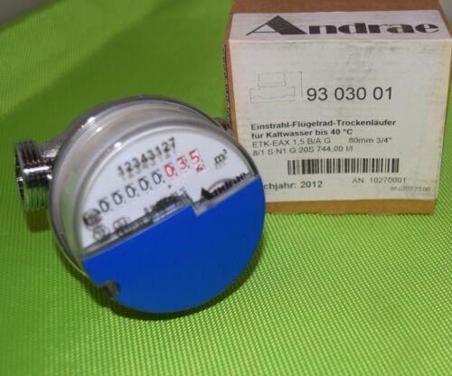 """Andrae Aufputzwasserzähler Kaltwasser 40° 80mm 3//4/"""" Qn 1,5m³ Eichjahr 2012 872"""