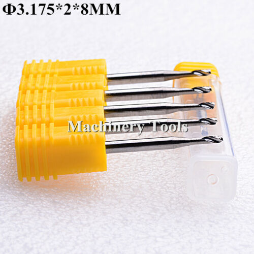 5pcs 3.175*2mm*8mm Single Flute Aluminium Cutting Milling Cutter CNC Router Bit
