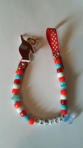 Teletubbies Po Any Name Handmade Personalised Dummy Clips