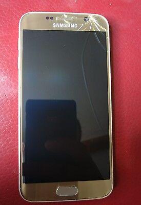 Samsung Galaxy S6 SM-G920F - 32GB - Gold Platinum (Unlocked) #cracked screen#