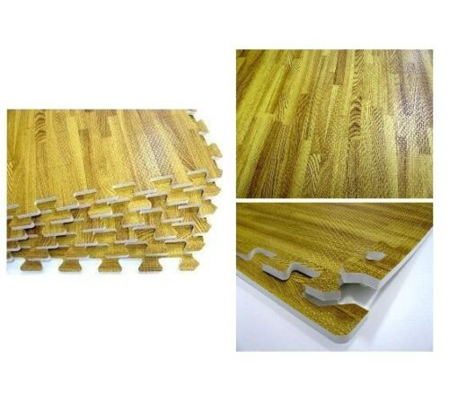 Wood Effect Eva Mat Interlocking Foam Laminate Flooring Tiles Play Mat 16Sq Ft.
