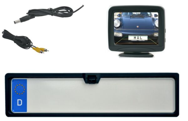170 ° Ir Led Telecamera Retromarcia Targa Park Assist Incl. Monitor 3.5 Pollici