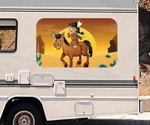 3D-Autoaufkleber-Indianer-Pferd-Cartoon-Wohnmobil-Motorhaube-Sticker-21A057
