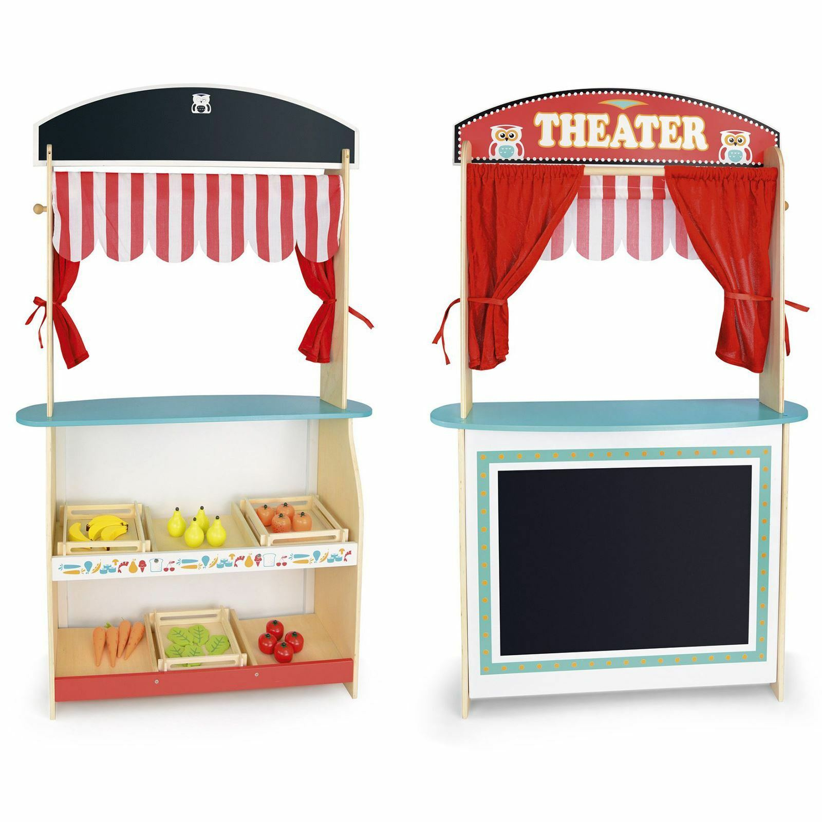 LEOMARK WOODEN SHOP & THEATRE 2 IN 1 PLAY SET KIDS FUN ACTIVITY FREE P+P