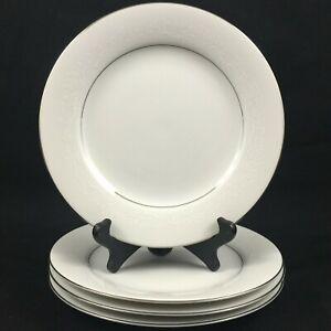 Set-of-4-VTG-Salad-Plates-8-1-4-034-Noritake-Whitehall-Floral-6115-Platinum-Japan