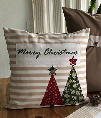 Kissenbezug Landhausstil Frohe Weihnachten Grau//weiß 50x50cm. 1 Kissenhülle