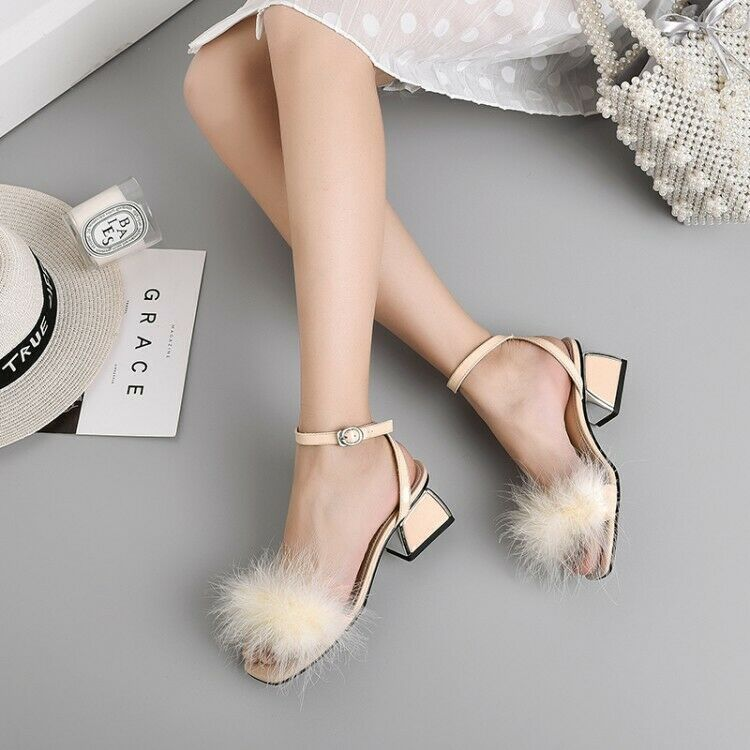 Women Fashion Leather Feather Ankle Strap Block Heel Beach Sandals shoes SKSI