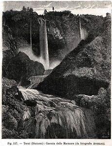 Terni: Cascata delle Marmore. Umbria. Stampa Antica + Passepartout. 1895