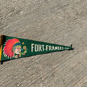 """Vintage Fort France Ontario Canada Pennant Banner Indian Chief 22""""No Tassel"""