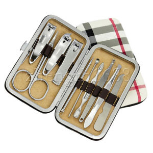 10-PCS-Pedicure-Manicure-Set-Nail-Clippers-Cleaner-Cuticle-Grooming-Kit-Case-UK