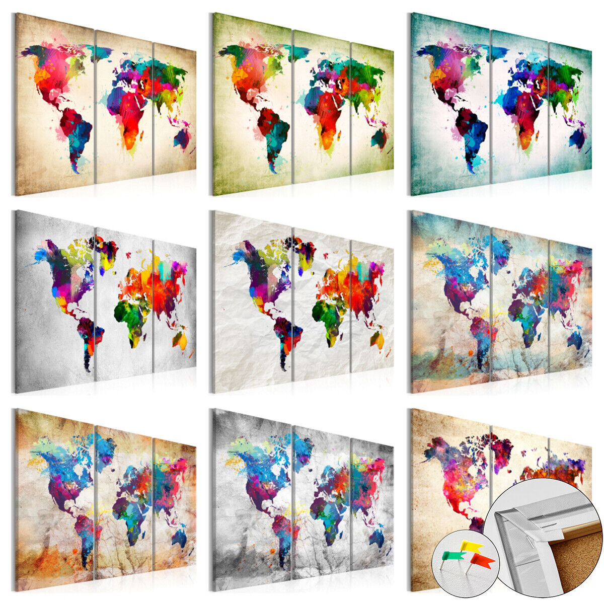 World Map Pinboard Cork Board Canvas Print Wall Art Picture Home k-A-0006-p-f