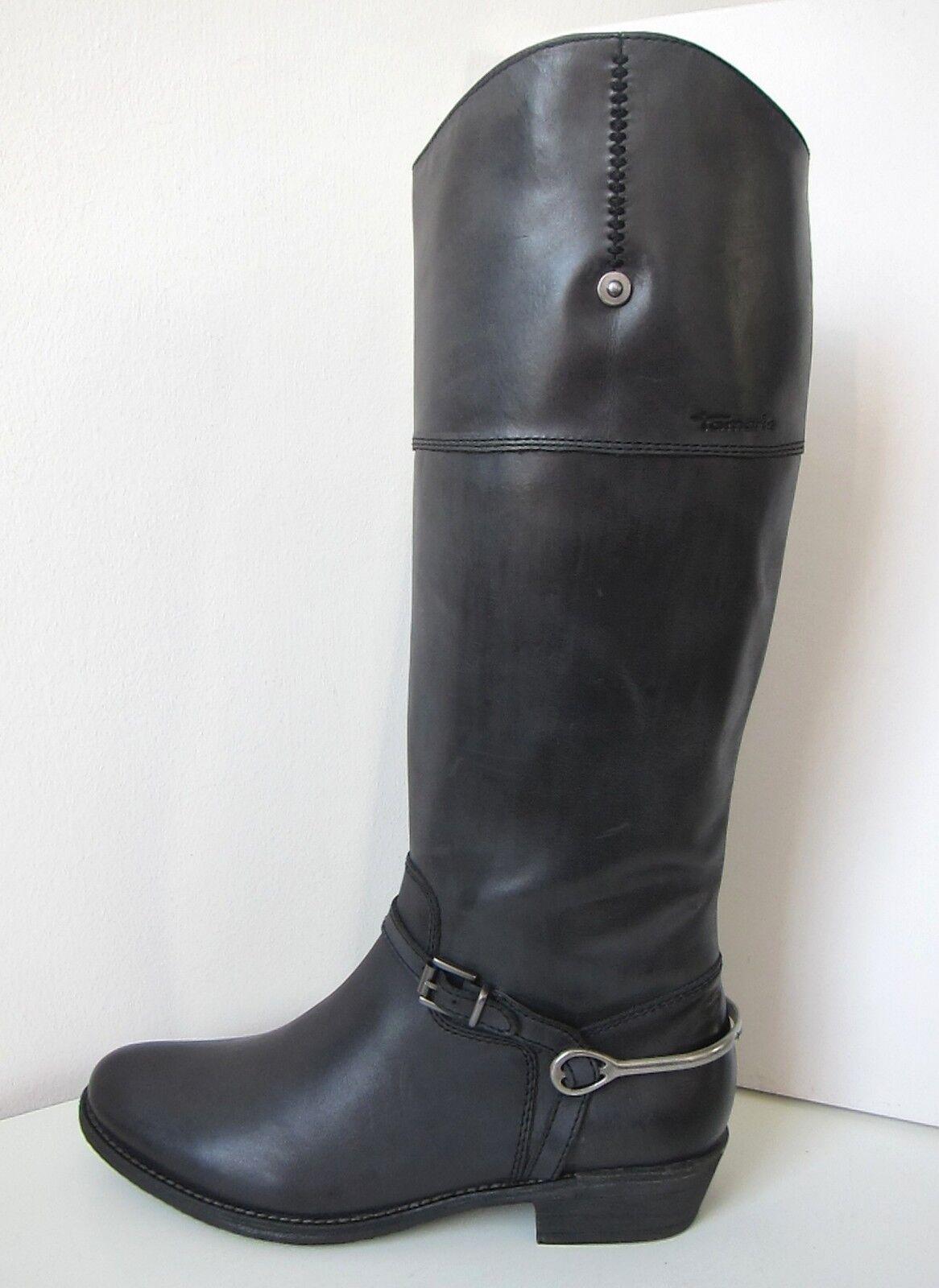Grandes zapatos con descuento Tamaris Reit Stiefel Weitschaft Weite L  40 schwarz antik Boots black Pollen