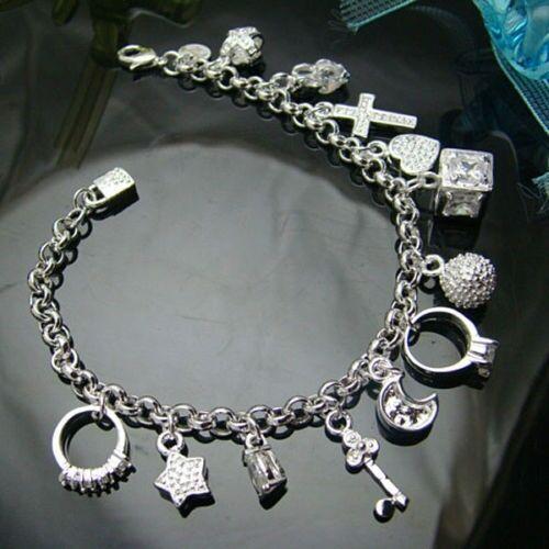 925 sterling Silver Plated Fashion Women 13 Charm pendant Beautiful Bracelet