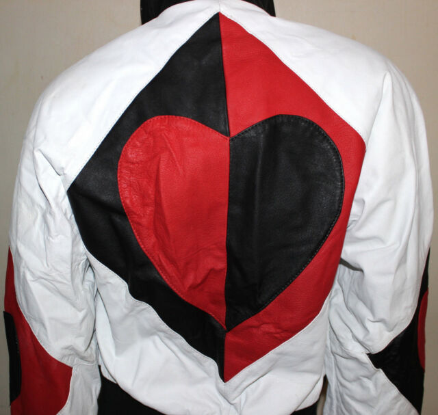 Michael Hoban 1991 red and black diamond heart design leather jacket S used