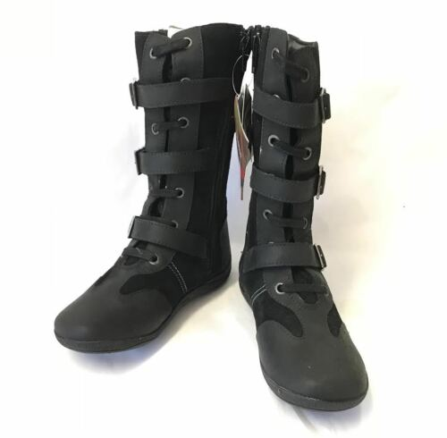 Hush Puppies Dangergirl Ladies Girls Long Leather Zip Up Shoes Black Boots Ankle