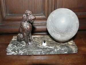 Raritaet-Original-Art-Deco-Lampe-Tischlampe-Pudel-ca-1925-Frankreich