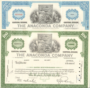 The-Anaconda-Company-gt-Butte-Montana-copper-mining-gt-set-of-2-stock-certificates