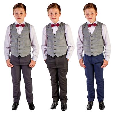 Ragazzi Abiti Ragazzi Matrimonio Suit Panciotto Controllo Tuta Pagina Ragazzo Bambino Formale Partito Bow-mostra Il Titolo Originale