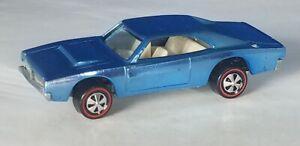 Restored-Hot-Wheels-Redline-1969-Custom-Dodge-Charger-Lt-Blue-Car