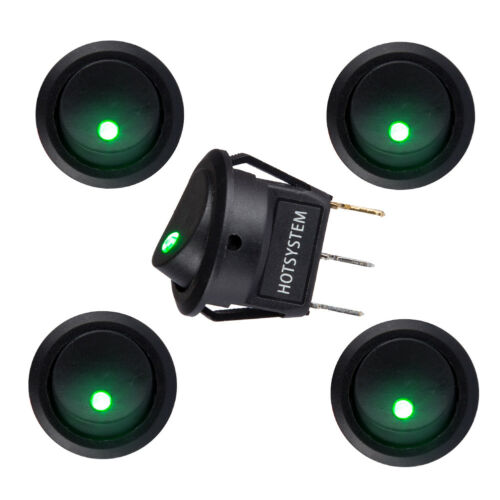 LED 12V ON//OFF Round Rocker Switch illuminated Car Dashboard Dash Boat Van TIK