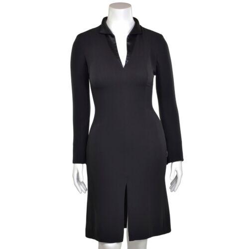 Giorgio Armani Black Silk Crepe Long Sleeve Sheath
