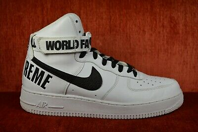 CLEAN Nike Supreme Air Force One High White World Famous 698696 100 Size 9.5 826218019784 | eBay
