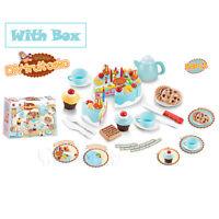 Blue Kids Birthday Candle Strawberry Cake Kitchen Set Pretend Play Toys Gift Box