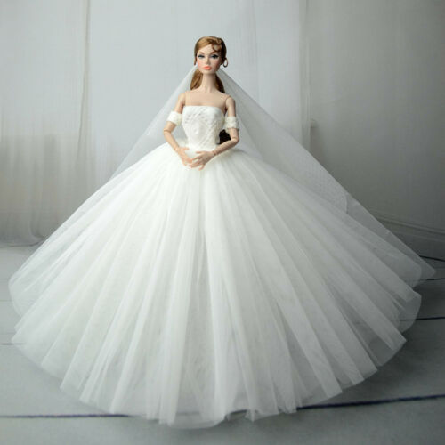 Doll S556 White Fashion Royalty Princess Dress//Clothes//Gown+veil For 11 in