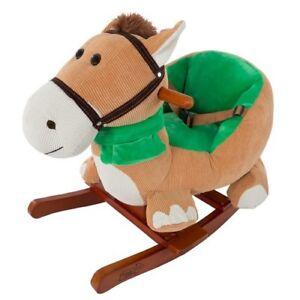 Plush-Brown-Rocking-Horse-w-Seat-Kids-Riding-Toys-Ride-On-Toy-Toddler-Children