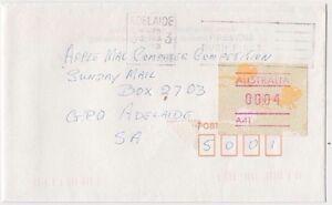 Stamp-Australia-4c-Echidna-Frama-cliche-A41-on-1993-cover-underpaid-Adelaide