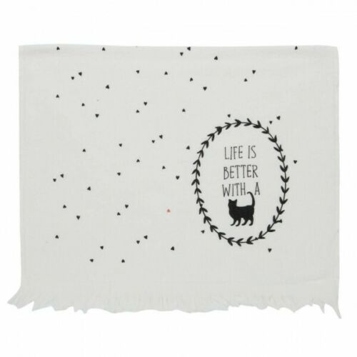 *Clayre /& Eef* Küchentuch// Handtuch 40*60 **Life IS BETTER WITH A CAT**  CTCAL