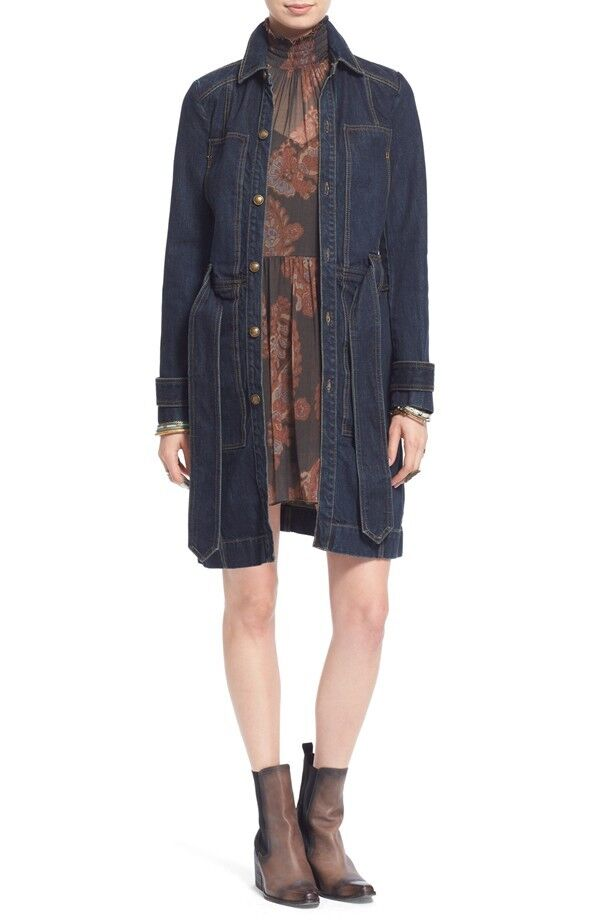 NWT Free People Single Breasted Denim Trench Coat Retail