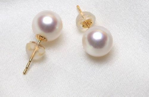 A pair 11-10 mm AAA south sea round white pearl dangle earrings 18k
