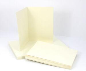 25-x-Klappkarten-A5-amp-Briefumschlaege-C5-CREME-Doppelkarten-Set-cremefarben