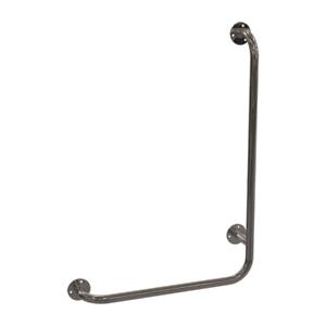 Winkelgriff für barrierefreies Bad 60/40 cm rechts montierbar, Edelstahl 25 mm