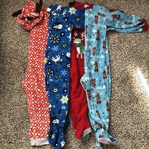 4-Piece-Lot-Toddler-Girls-Footed-Pajamas-3T-And-4T-Girls-Pajamas-Fleece-Sleepers